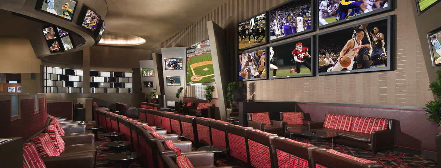 The wall of 90 high-definition screens stands before you, making sure you see every pass, catch, basket, goal, home run and victory.