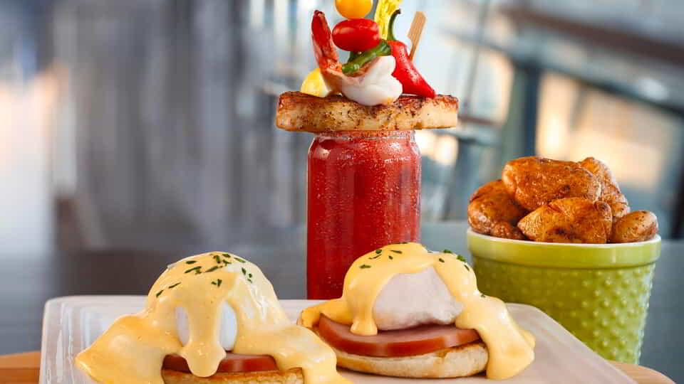 Eggs Benedict with a Bloody Mary at ARIA Café.