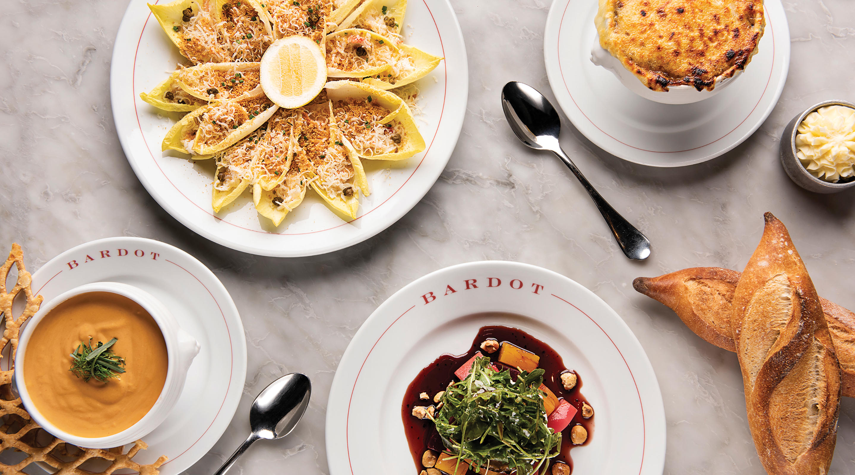 View from above of several dishes available at Bardot.