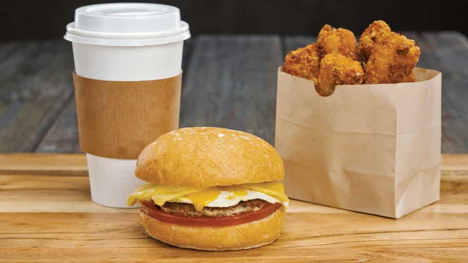 Jumpstart your day with a breakfast sandwich combo from Burger Lounge.