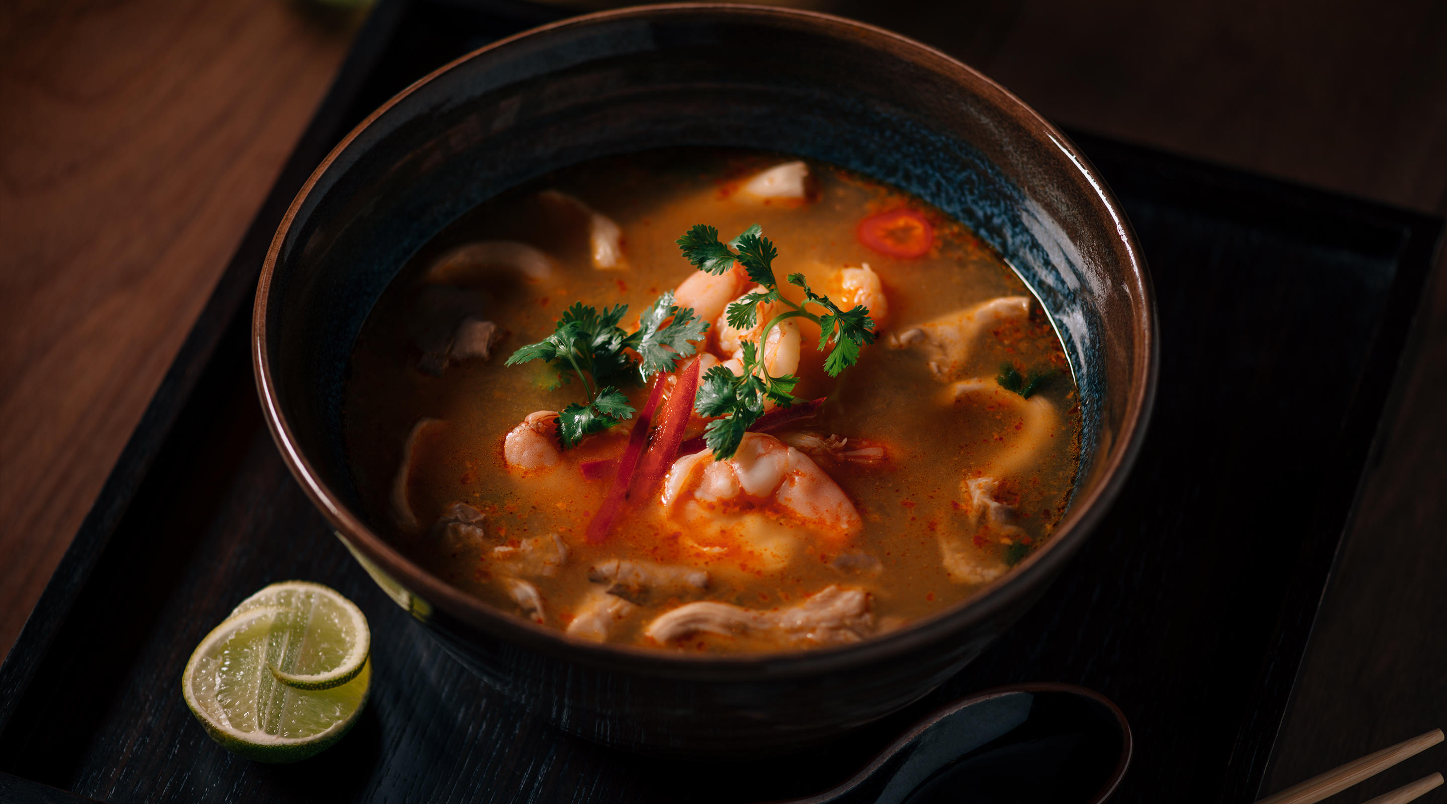 Enjoy the authentic Thai fare with the Tom Yam Soup at Lemongrass.