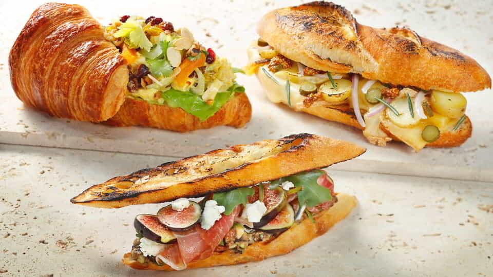 Three signature sandwiches from ARIA Patisserie.