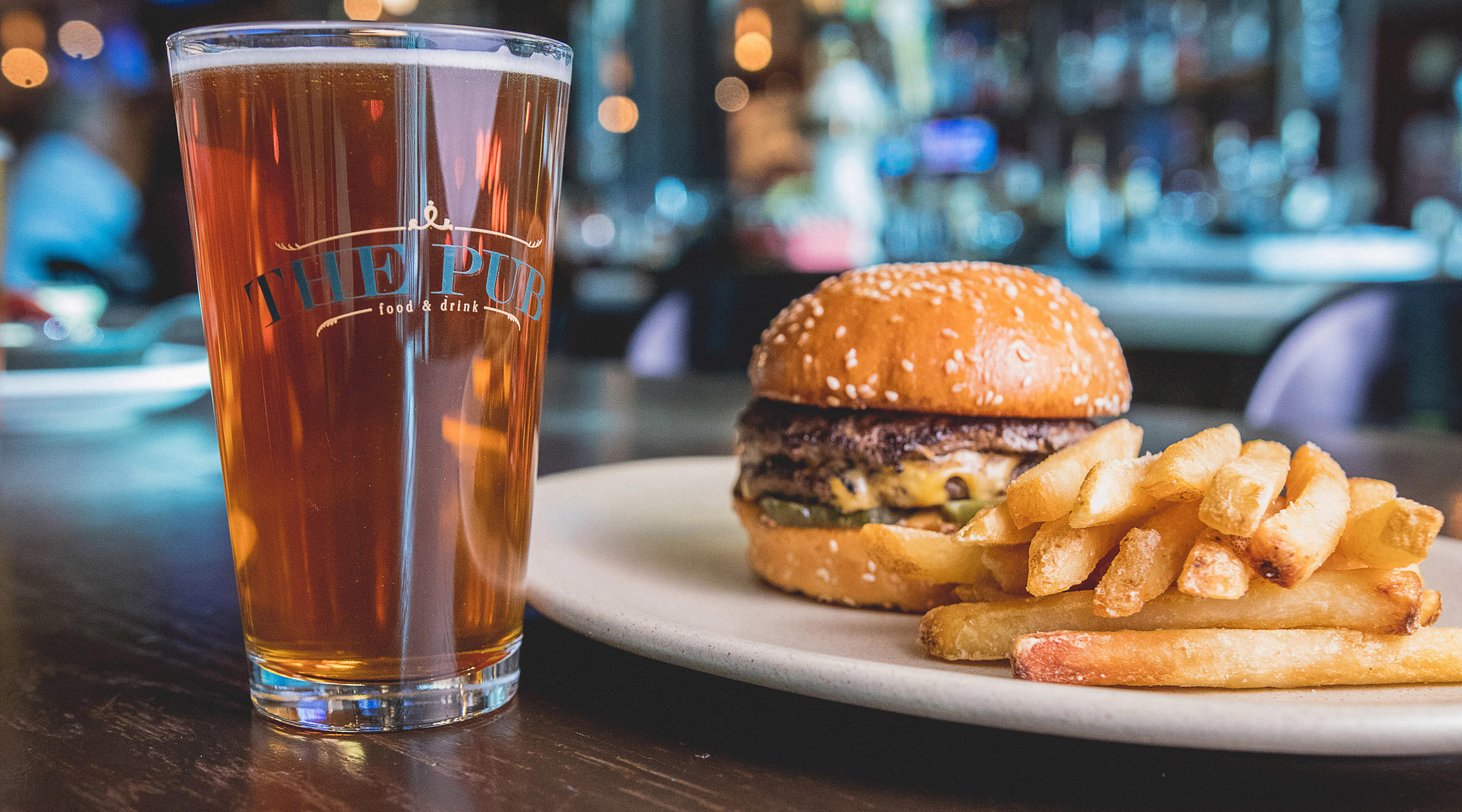 A burger and beer, the perfect combination.