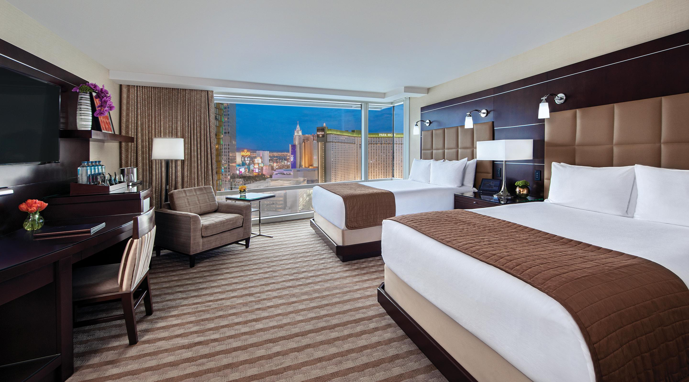Two queen bed deluxe room city view at Aria.