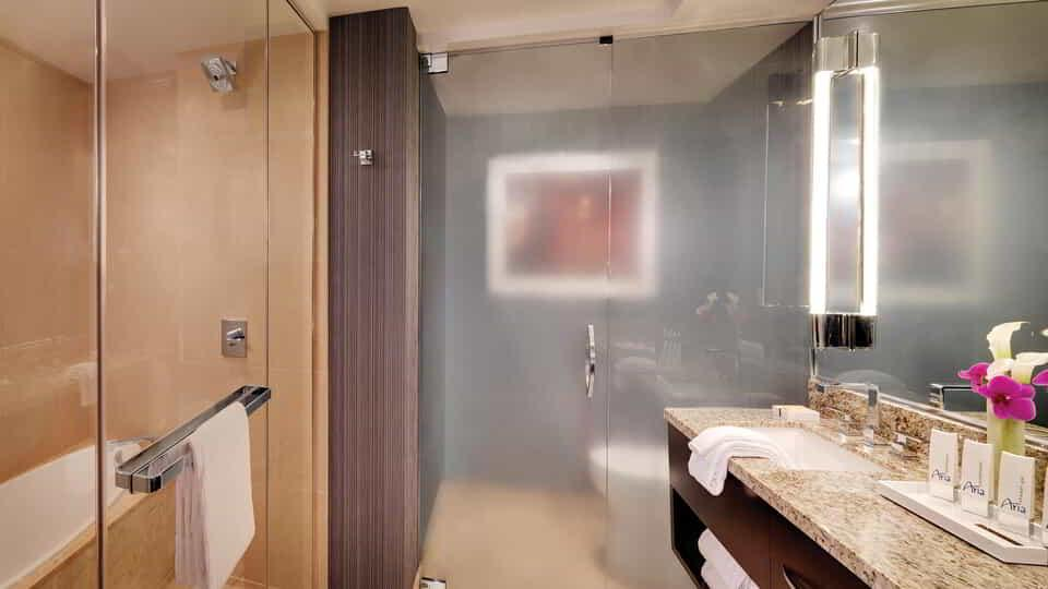 ARIA's Deluxe room bathrooms feature granite dual sink vanity and shower with bench adjacent to a soaking tub.
