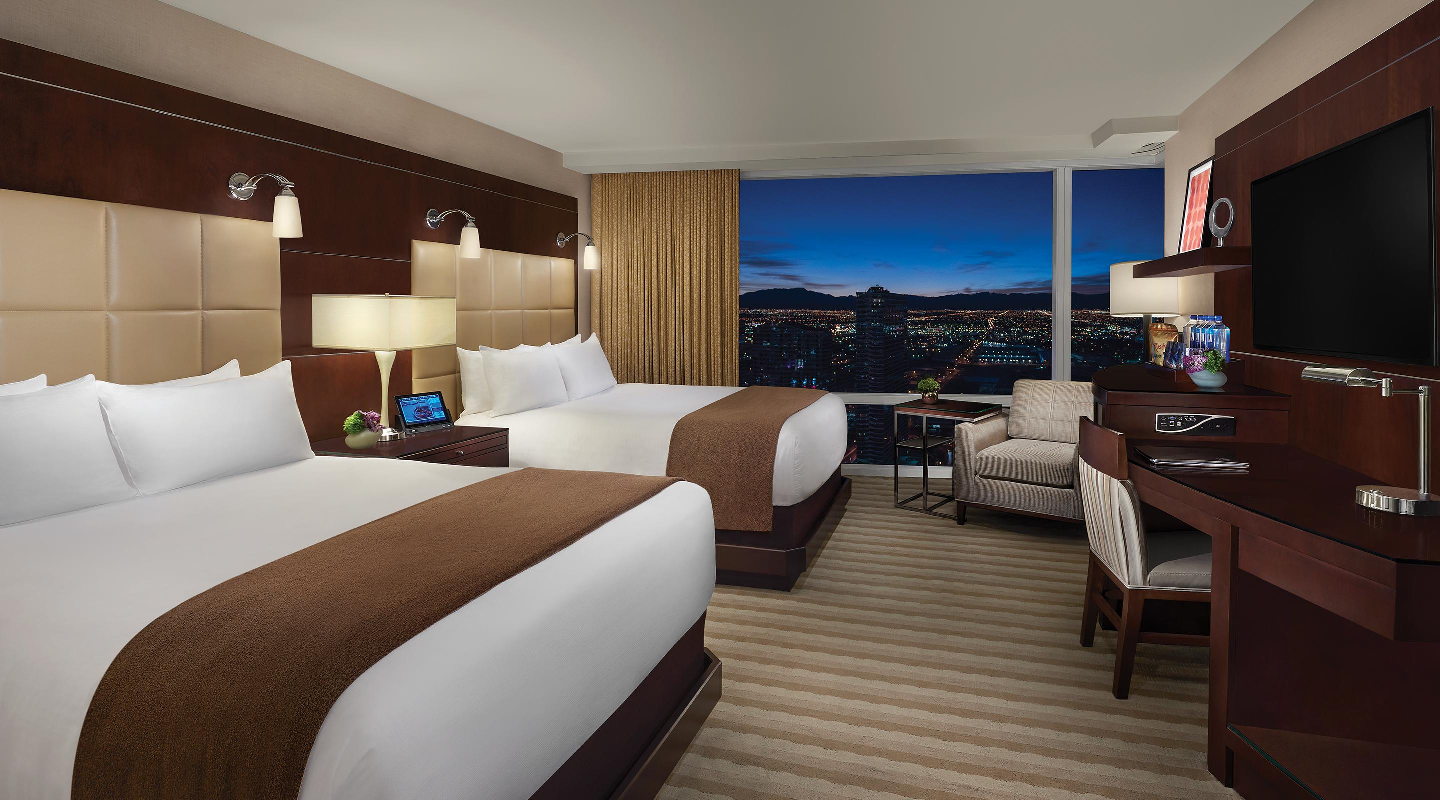 Two queen bed deluxe room mountain view at Aria.