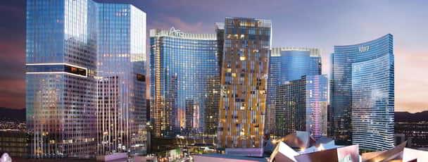 The Aria campus, including Vdara and Crystals,  exteriors.