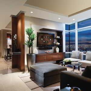 Luxuries include custom residential decor, unmatched amenities, dramatic views of Las Vegas, our signature one-touch room controls and, of course, exclusivity.