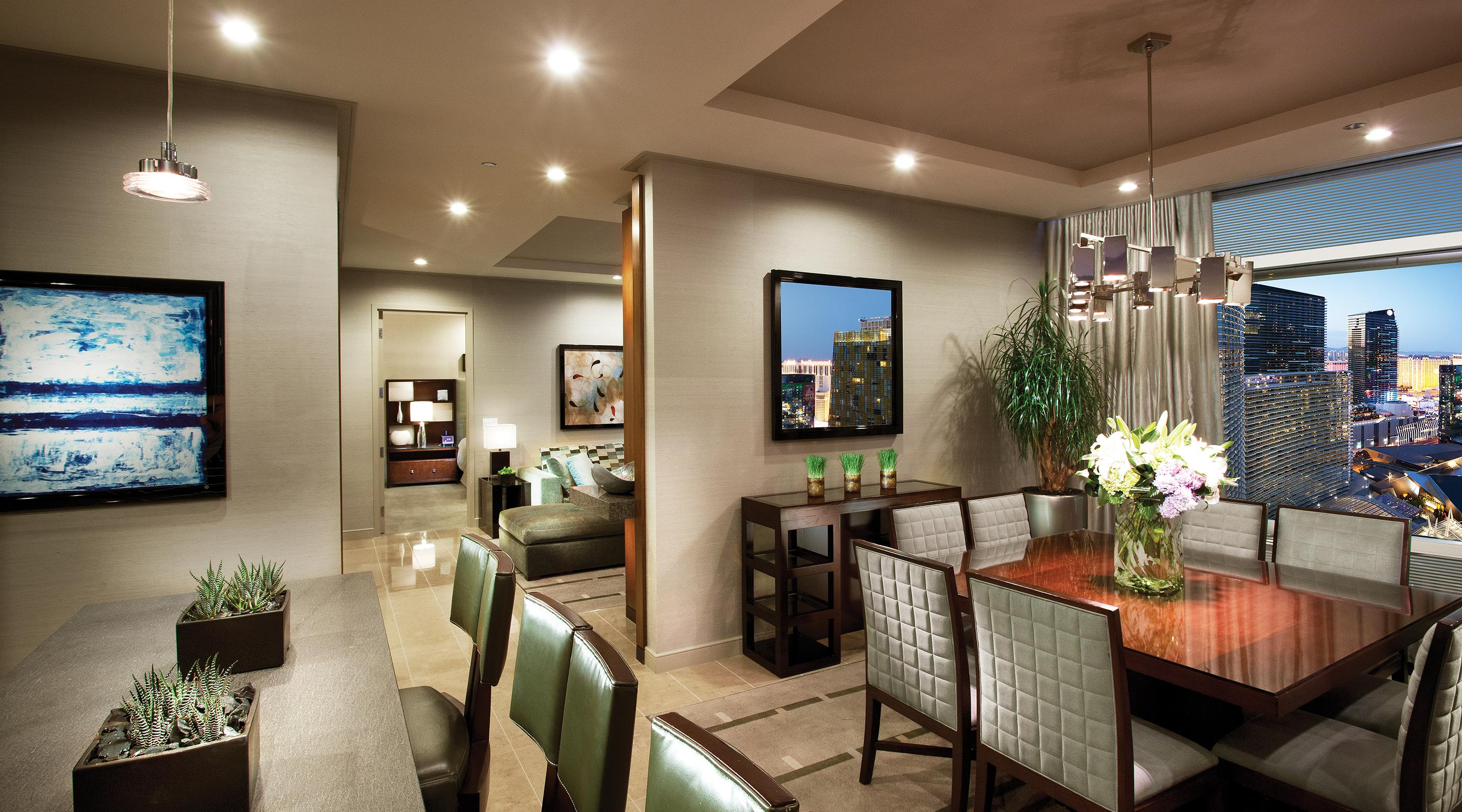 A dining area with a nice city view.