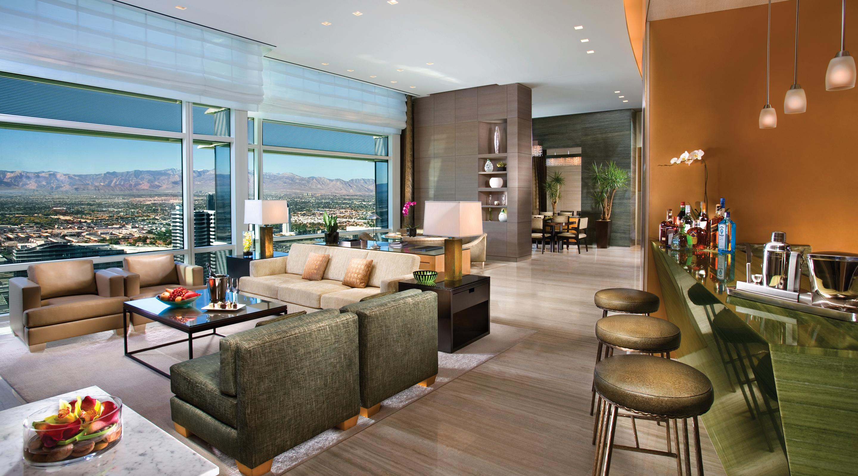 Living room with a nice mountain view.