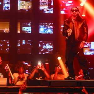 Tyga performing at JEWEL Nightclub inside ARIA