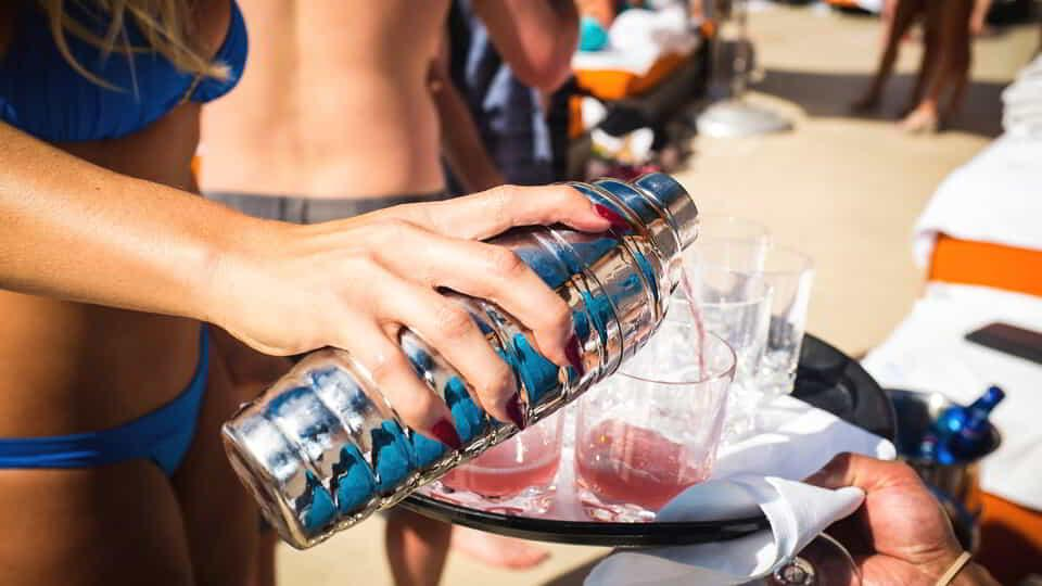 Enjoy cold drinks poolside at Liquid Dayclub