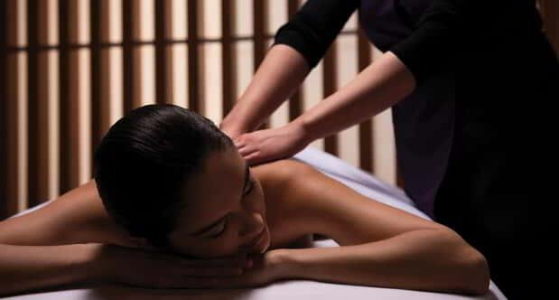 A relaxing woman on massage service.
