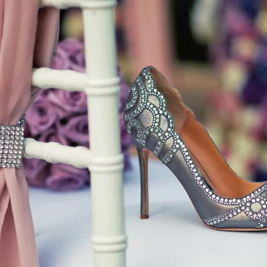 A shoe at the wedding scene.