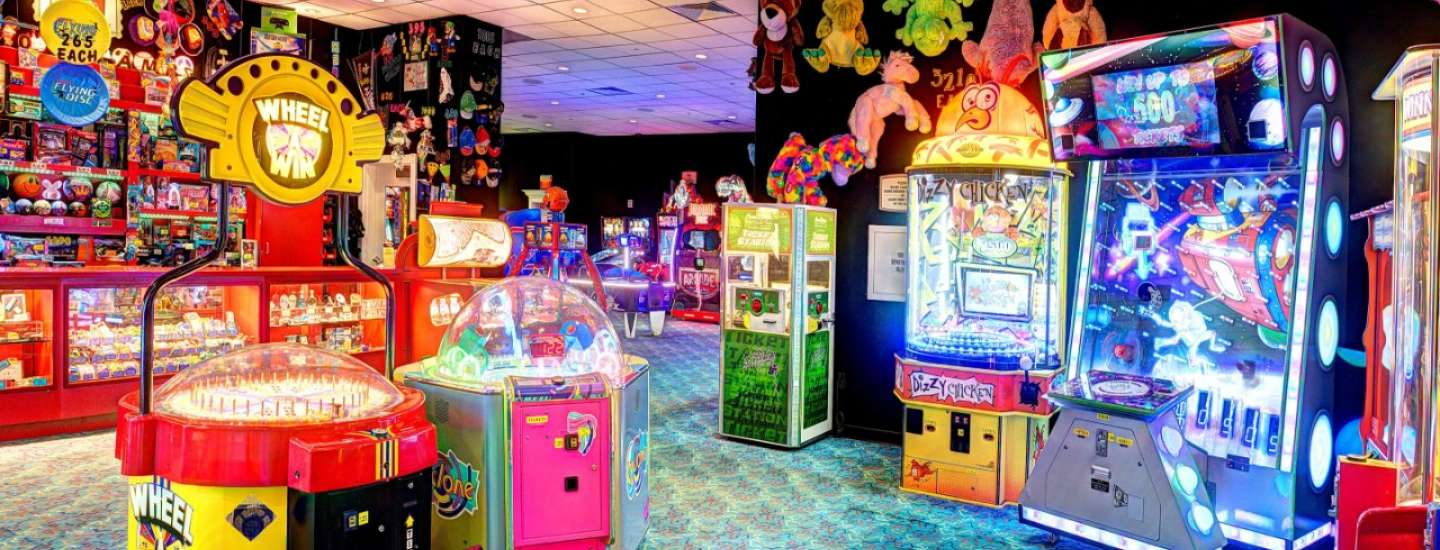 Come play at the Arcade for maximum fun and games.