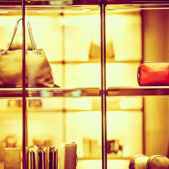 Stock image of handbags in a window for Beau Rivage Retail
