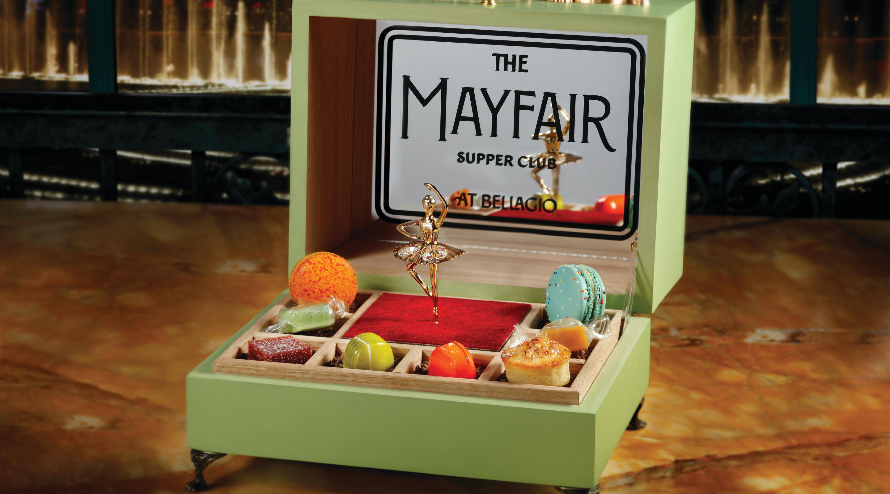 Mayfair Supper Club music box filled with confections.