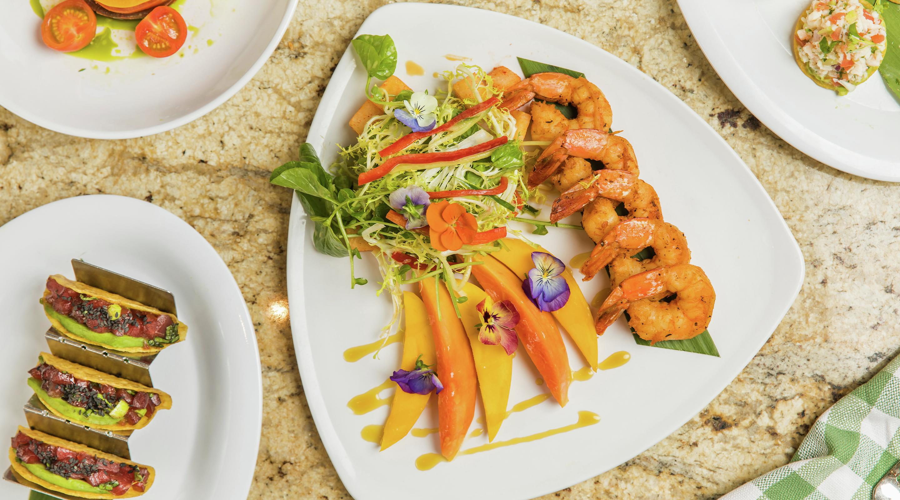 Enjoy the Shrimp Papaya Salad for the perfect combination of sweet and spicy.