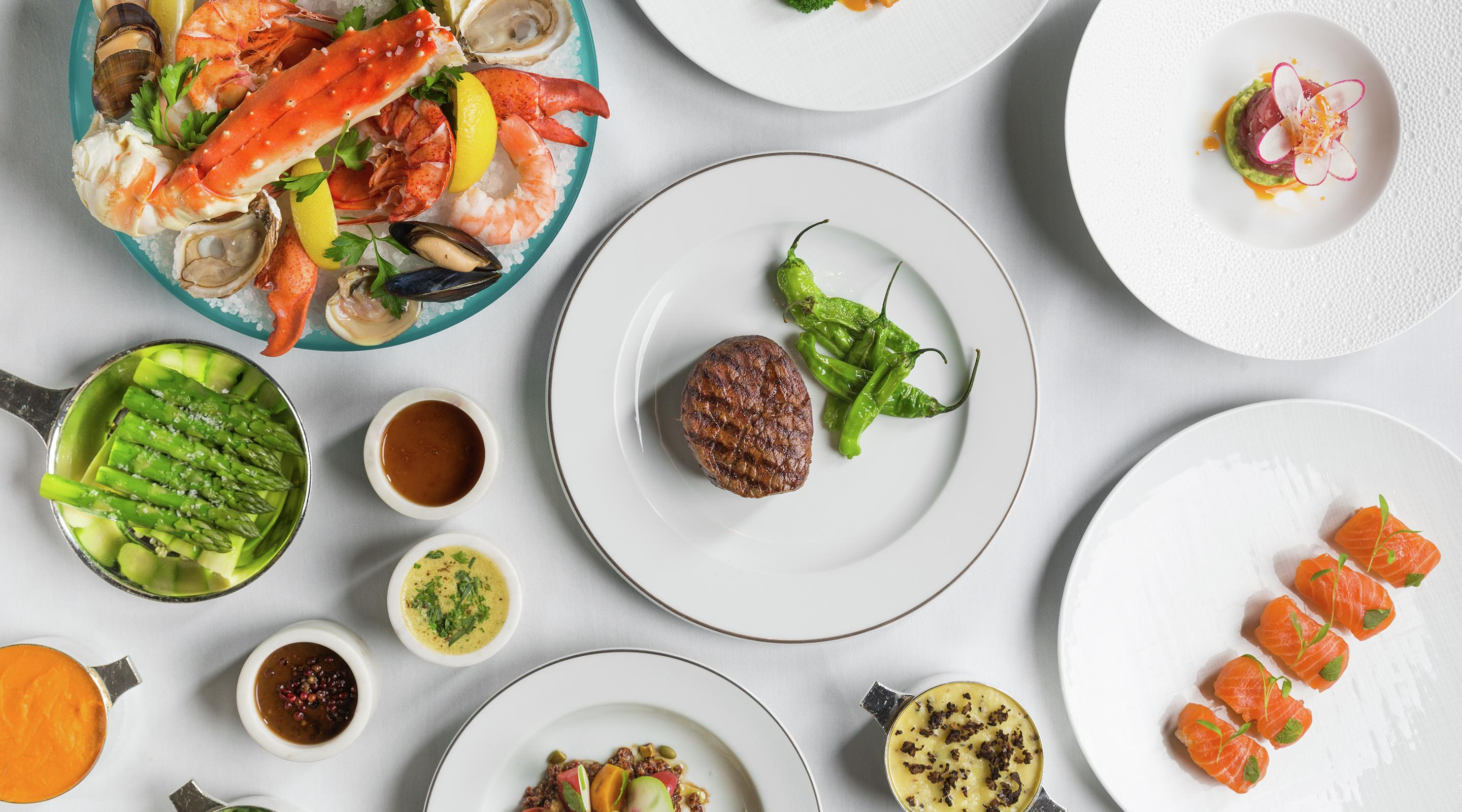 A classic steakhouse experience, starring prime meats and seafood.