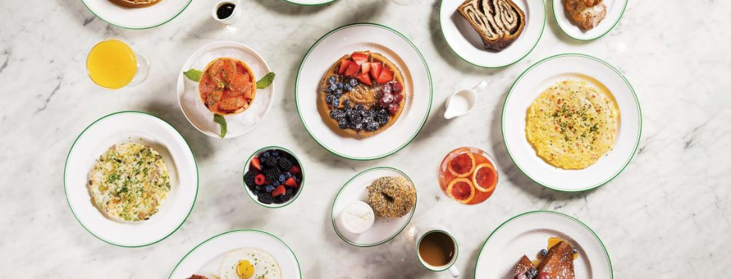 Overhead shot of Brunch selections at Sadelle's.