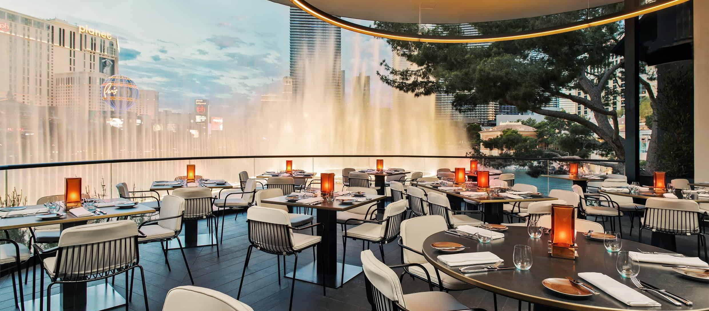 The restaurant is beautifully situated for al fresco dining in front of the Fountains of Bellagio.