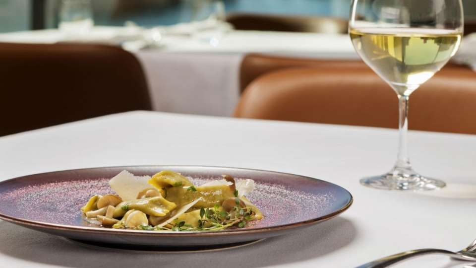 A dish of porcini agnolotti at Spago.