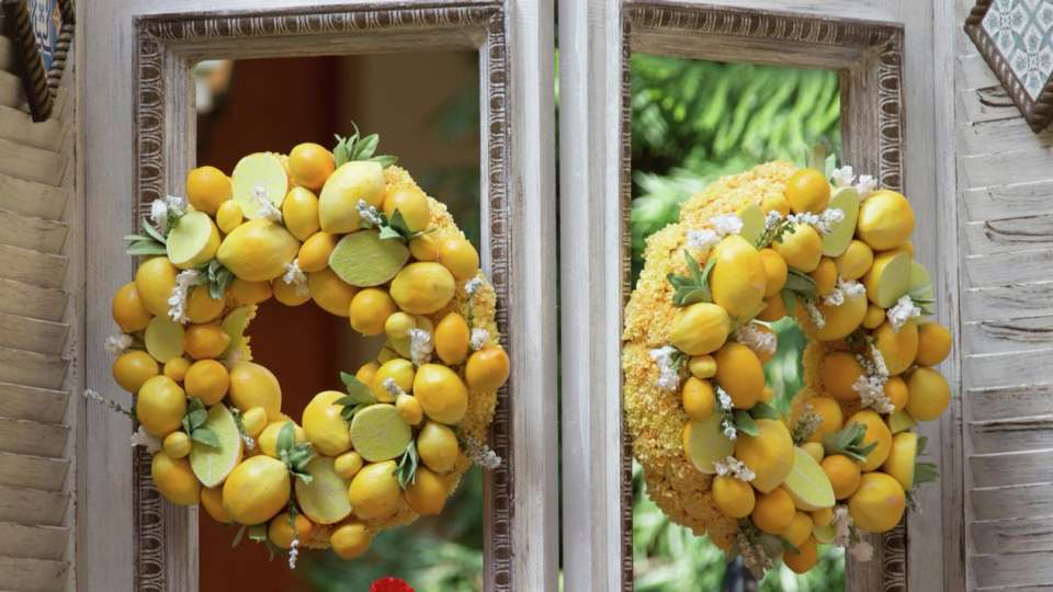 Tour of Italy Lemon Wreaths at the Bellagio Conservatory.