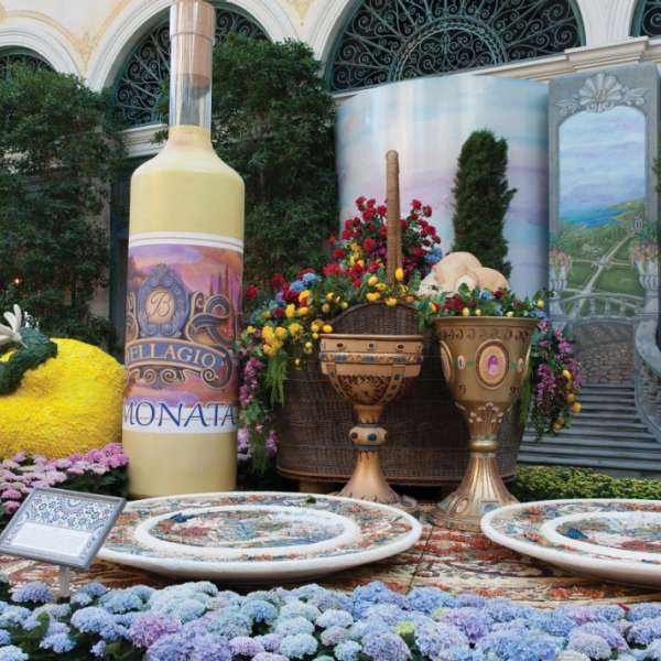A wine bottle in the Conservatory at Bellagio.