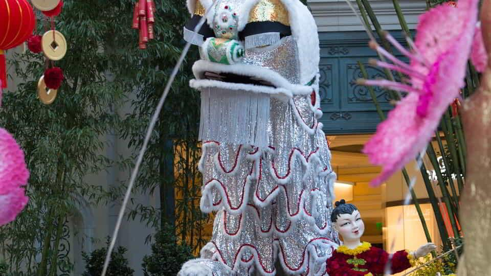 The dancing lion for Chinese New Years in Bellagio Conservatory.