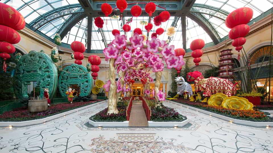 The floral walkway for Chinese New Years in Bellagio Conservatory.