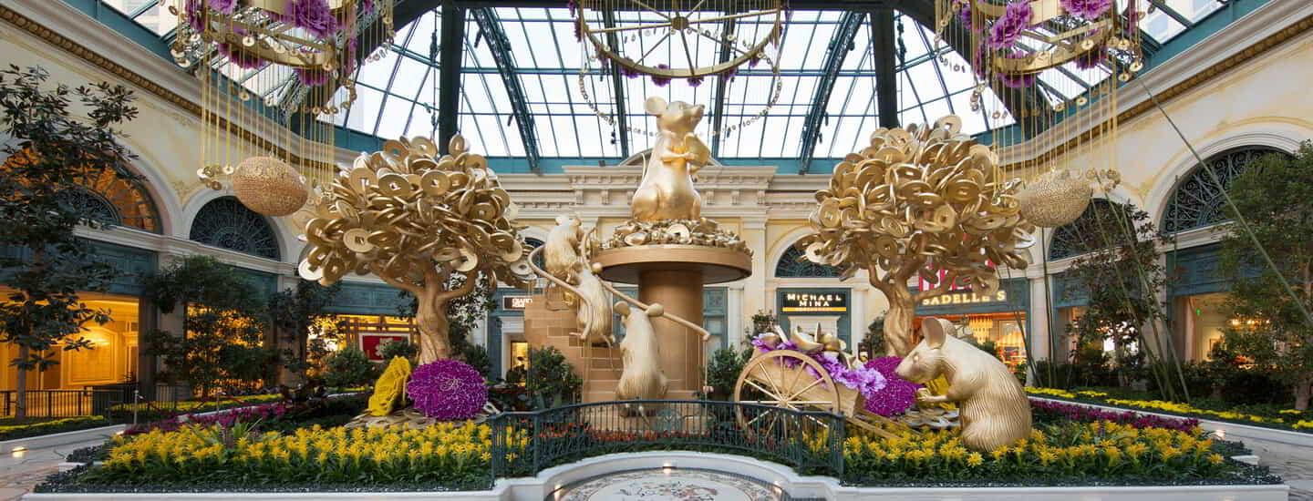 Main flower bed display for Chinese New Years in Bellagio Conservatory.