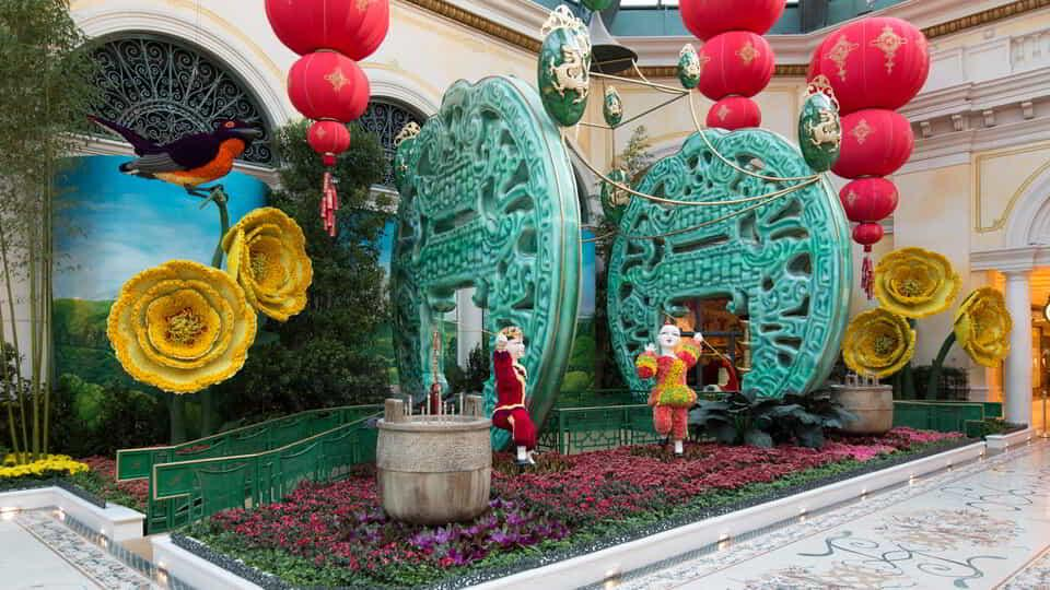 North bed display for Chinese New Years in Bellagio Conservatory.