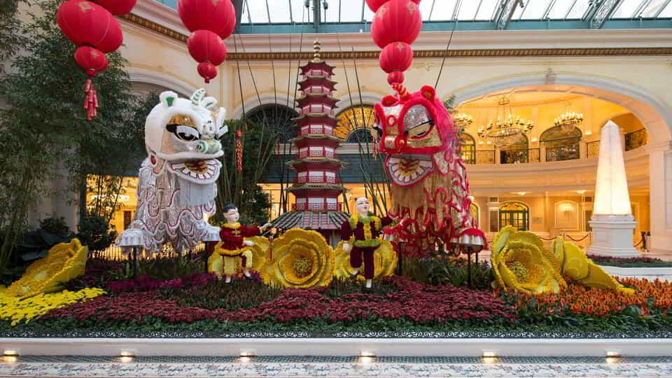 South bed display for Chinese New Years in Bellagio Conservatory.