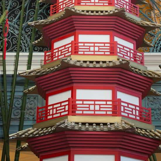 A Chinese tower on display for Chinese New Years in Bellagio Conservatory.