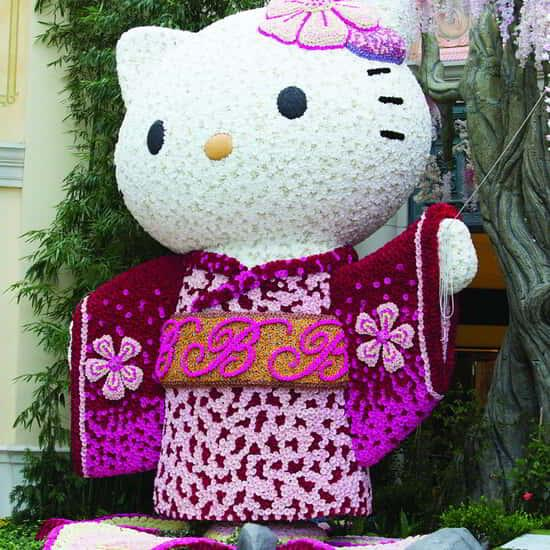 A closeup of Hello Kitty in Bellagio Conservatory.
