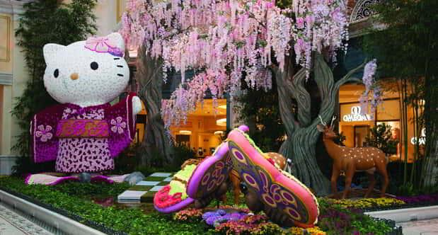 A wide shot of the Hello Kitty display in the Bellagio Conservatory.