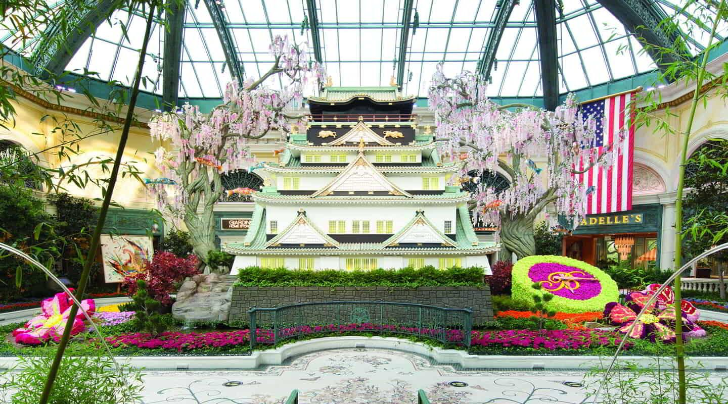 Front view of the Japanese house in the Conservatory in the Bellagio Hotel.