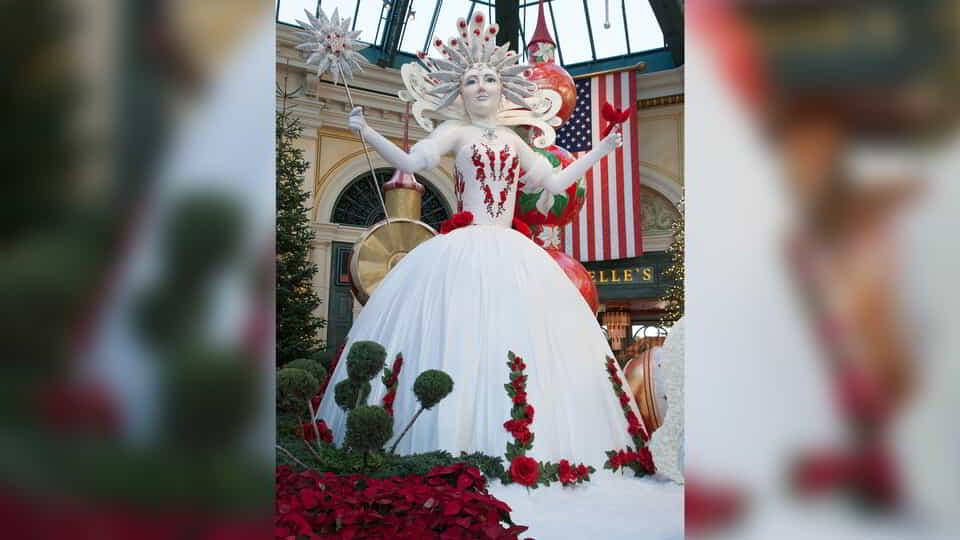 The snow queen display inside the Bellagio Conservatory.