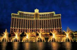 The Fountains of Bellagio at night.