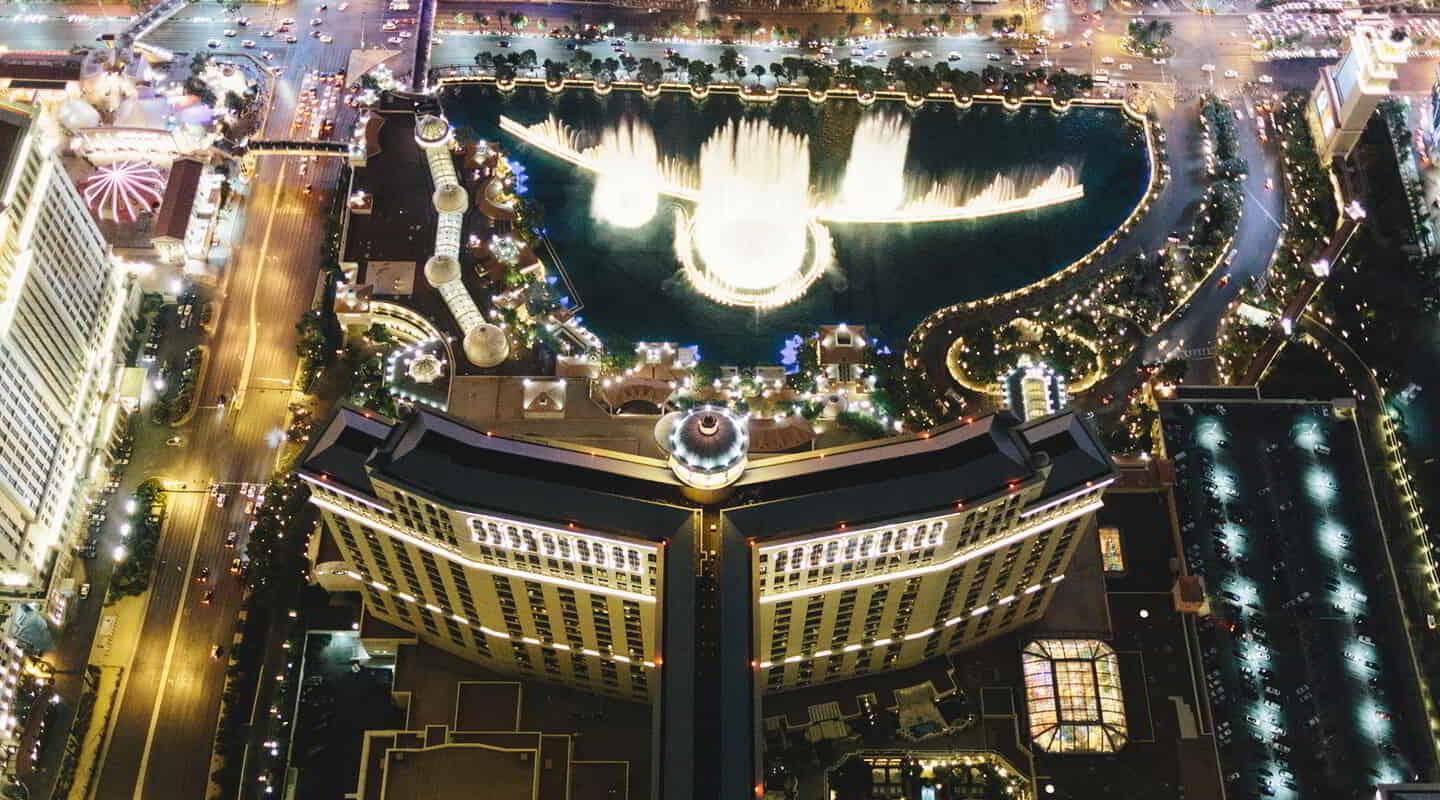 The aerial view of Bellagio is unlike any other.