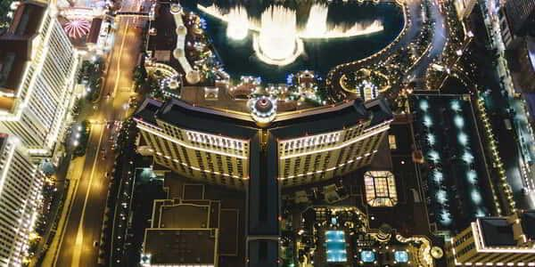 An aerial view of of Bellagio at night is truly an experience.