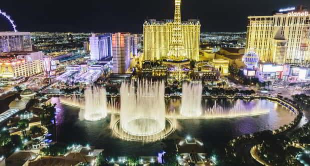 This is an absolutely gorgeous view of our fountains at night.
