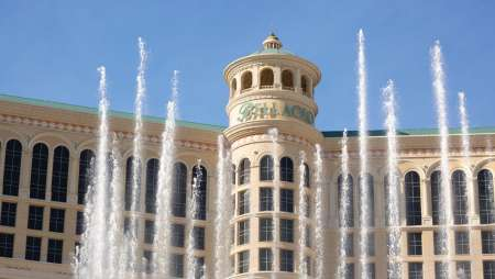 A close up look of Bellagio Las Vegas with fountain.