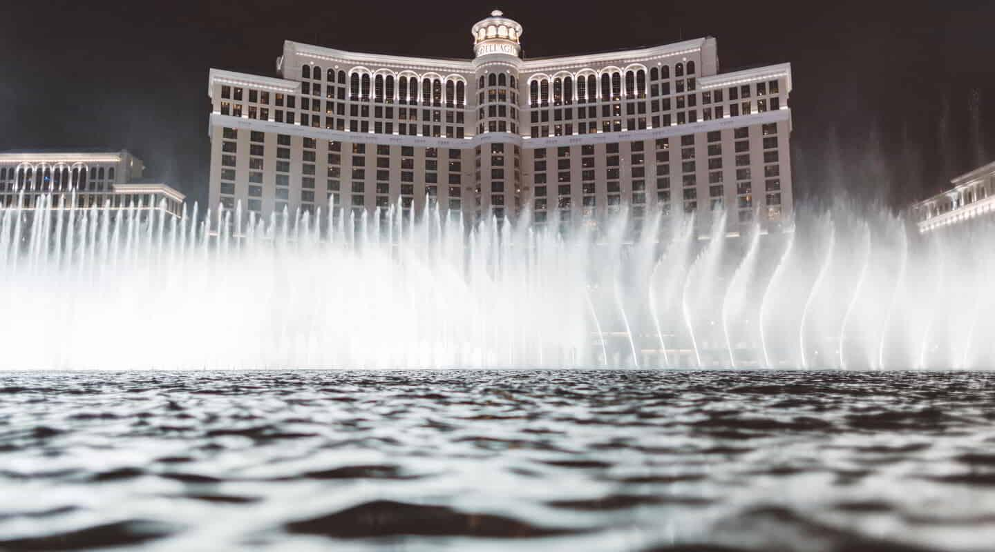 The Bellagio fountains dancing the night away.