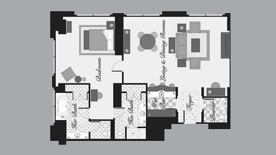 Bellagio Hotel Penthouse Suite 1 Bedroom Floor Plan