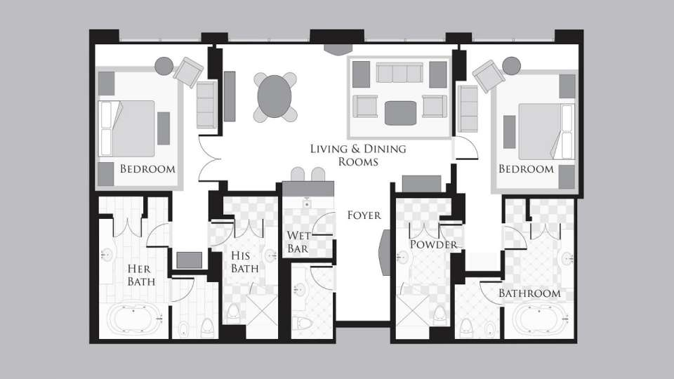 Bellagio Hotel Penthouse Suite 2 Bedroom Floor Plan