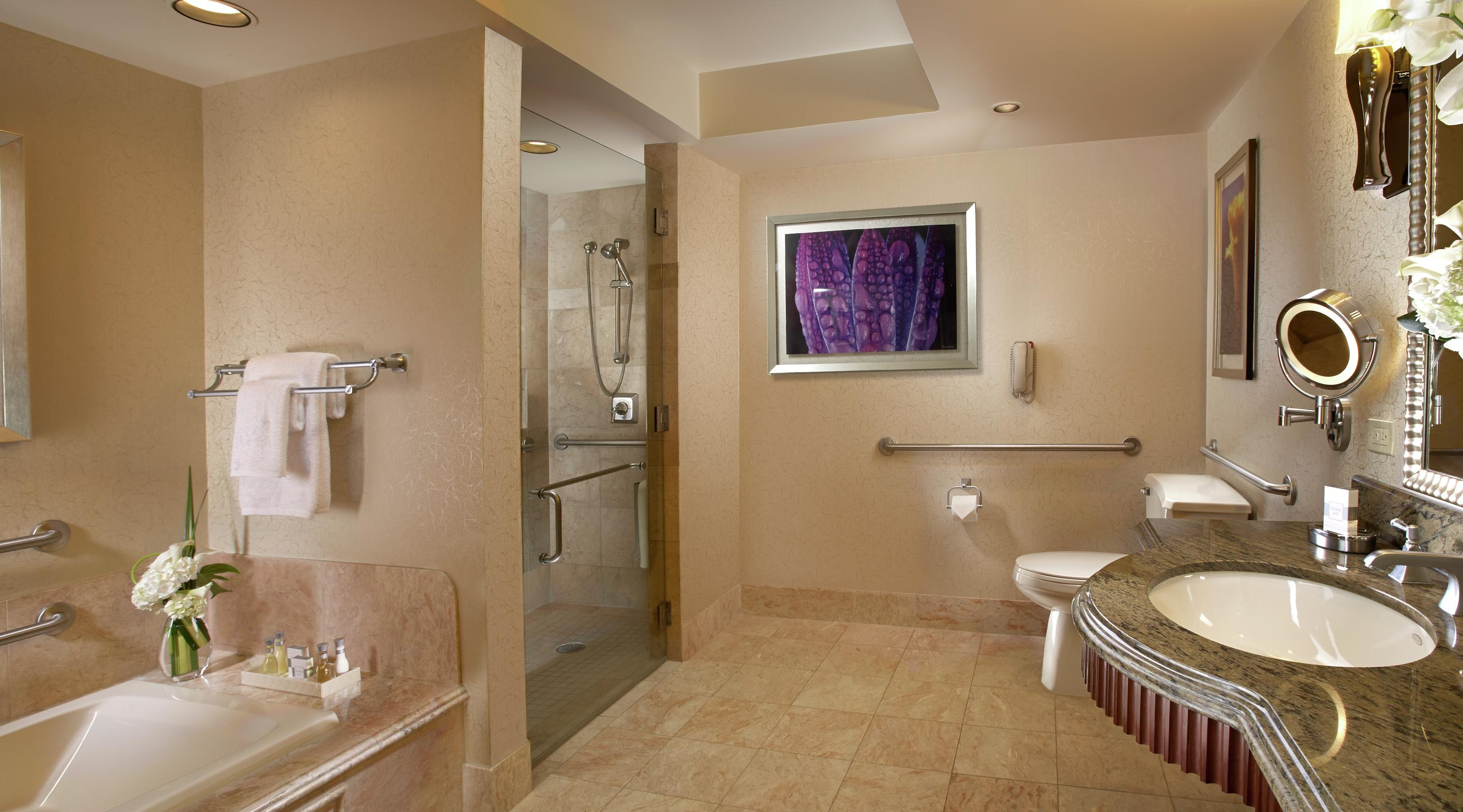 The ADA accessible bathroom in a king resort room at Bellagio.