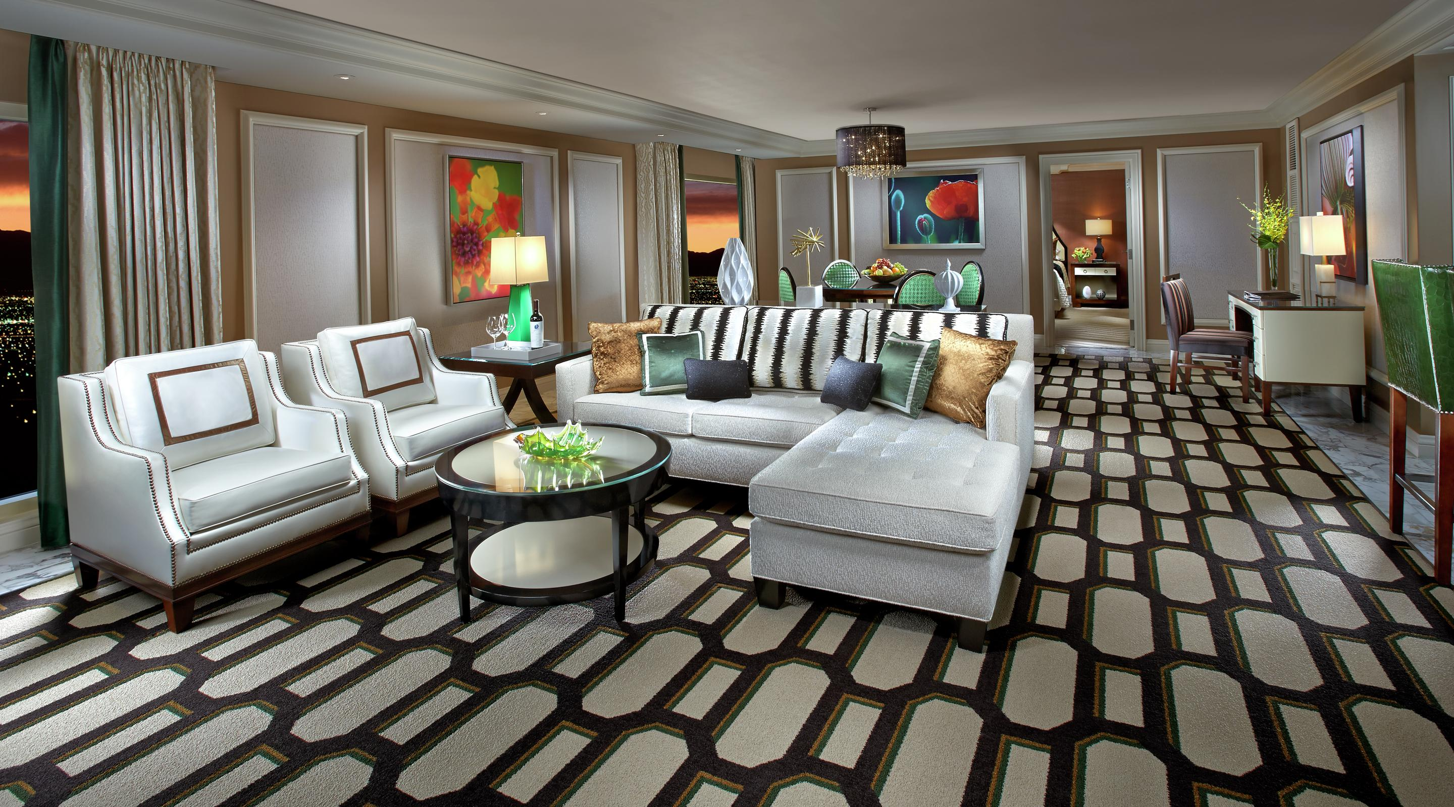 The living room in a Bellagio Tower Suite.