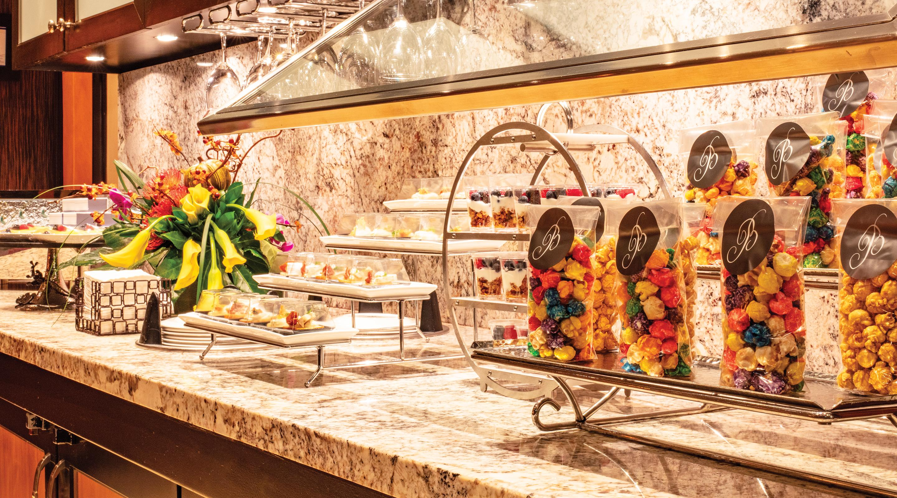 A dessert counter bar in VIP Lounge lobby.