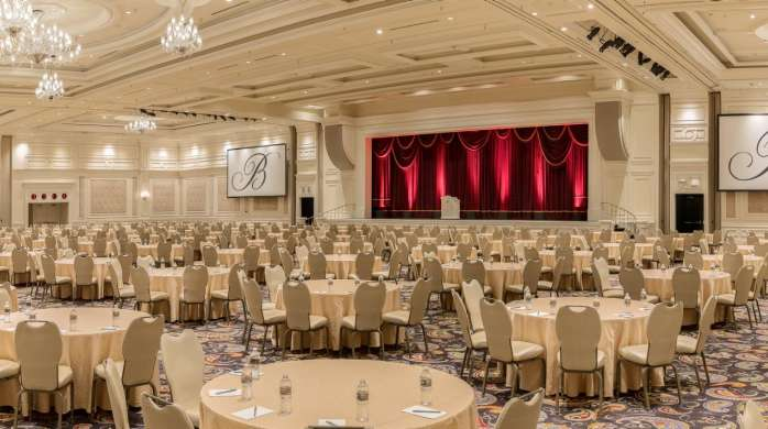 The Tower Ballroom setup with Crescent Rounds